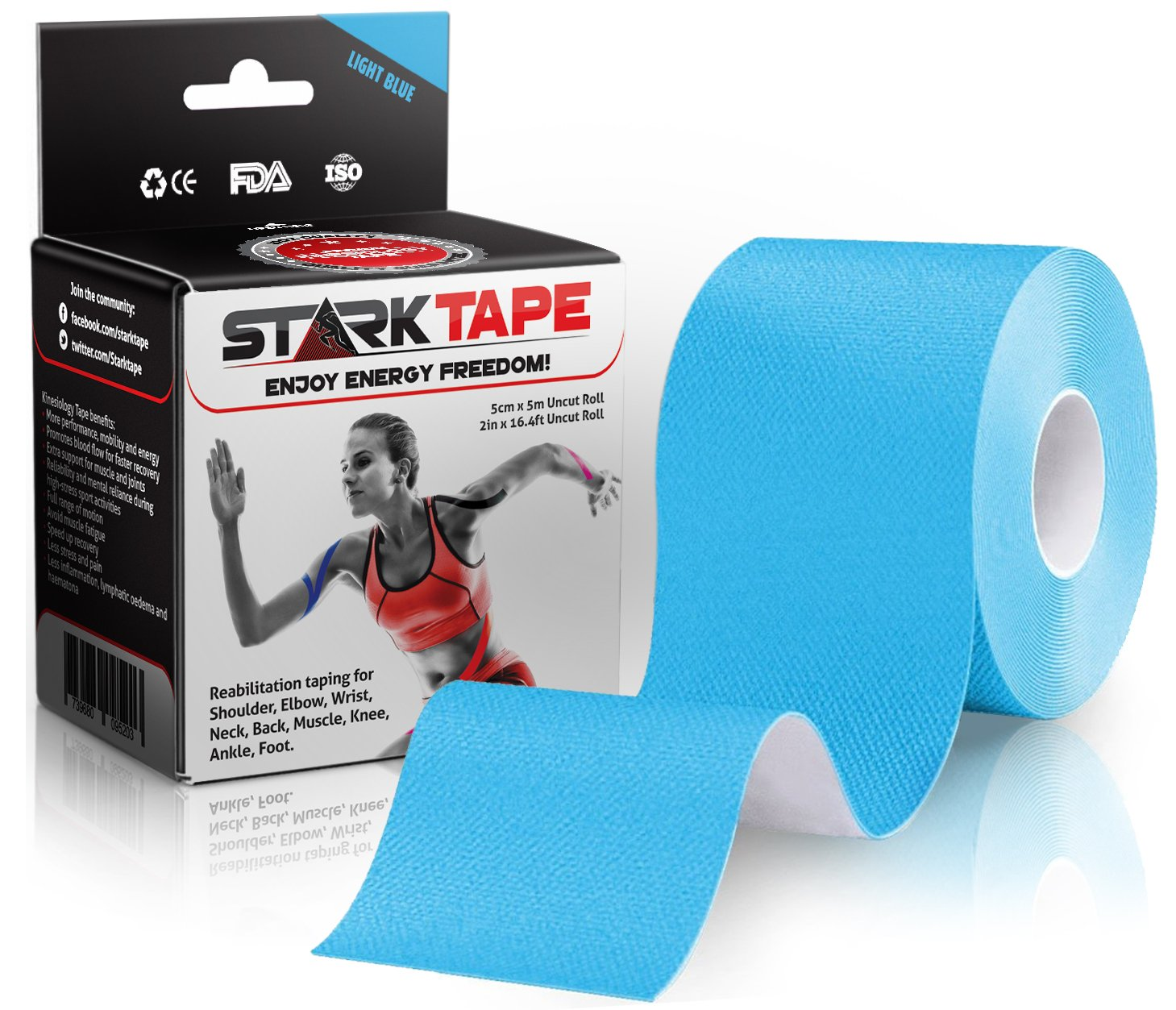 Kinesiology Tape Bulk - Designed to Help Boost Athletic Performance, Reduce Muscle Pain and Ease Inflammation. Easy to Apply, 97% Natural Cotton /3% Spandex