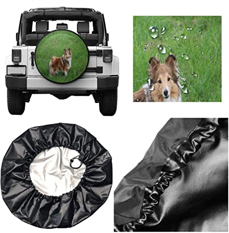 Border Collies Funny Dogs Art Spare Tire Cover Dust-Proof Waterproof Wheel Covers Sunscreen Corrosion Protection for Trailer Rv SUV