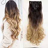 """Ombre Full Head Clip in Hair Extensions 24""""(61cm) Curly Dark Brown to Ash Blonde"""