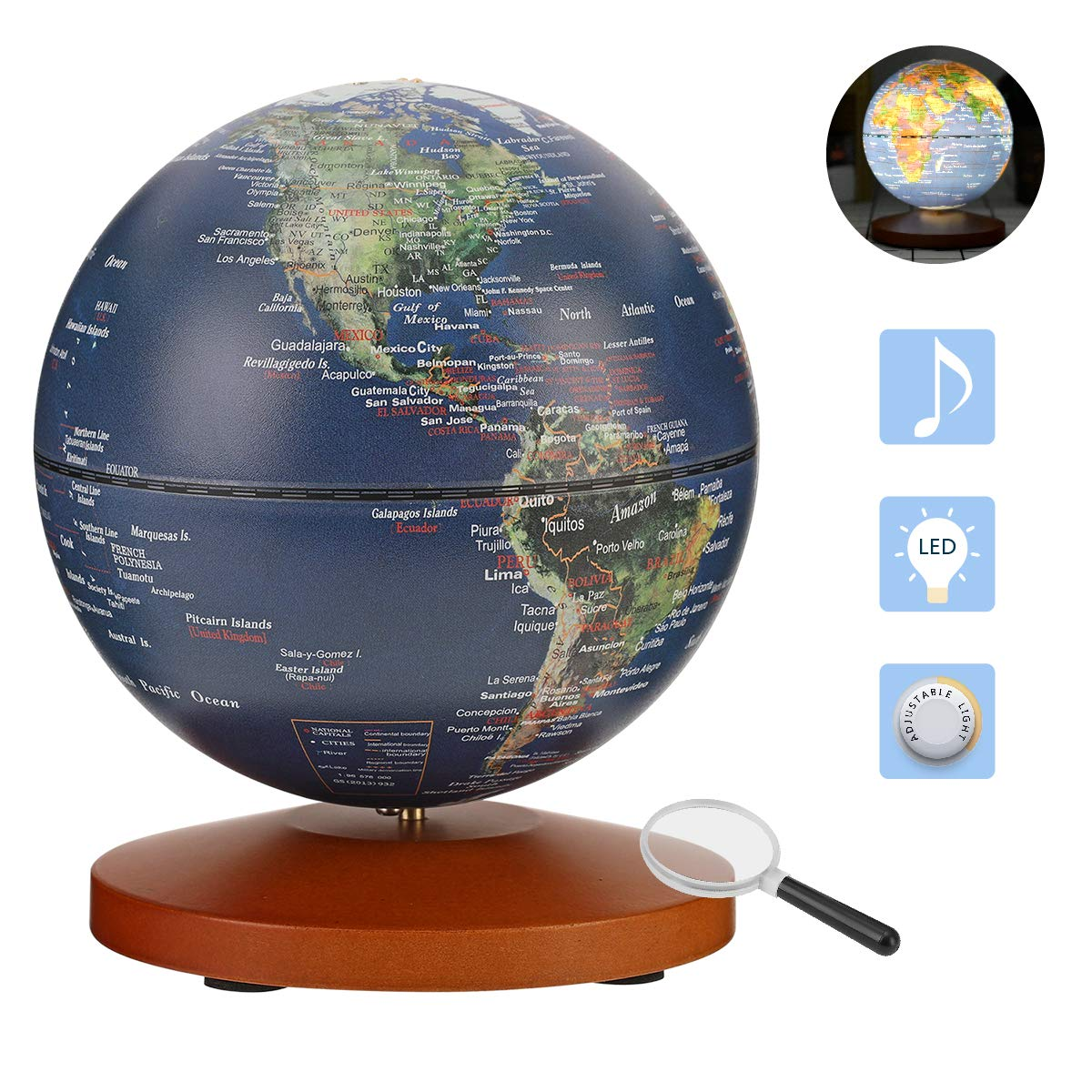 FUN GLOBE 3 in 1 Illuminated World Globe Desktop Decoration Geographic Interactive Earth Globes Office Supplies Holiday Gift with Adjustable LED & Light Music s for for Kids & Adult Navy 5 in by FUN GLOBE