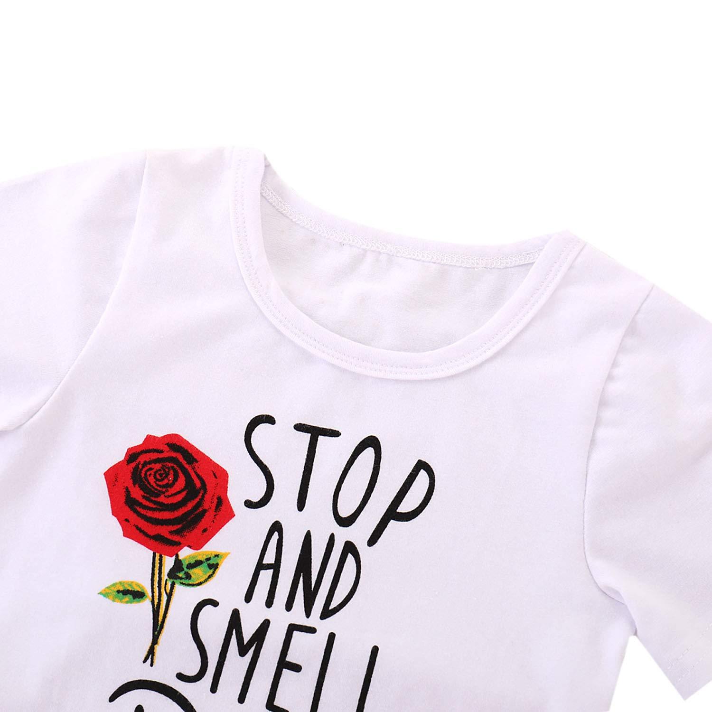 De feuilles M/ädchen Bekleidungsset Gedrukt Rose T-Shirt Kurz Denim Rock M/ädchenkleidung Sommer Baby Kleidung