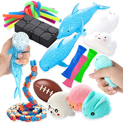 Sensory Tools Fidget Toy Set 22 Pcs Bundle, Kids and Adults Stress and Anxiety Relief Gadgets with Infinity Cube, Stretchy String, and More, Therapeutic Toys for Autism, ADHD, and Other Special Needs: Toys & Games