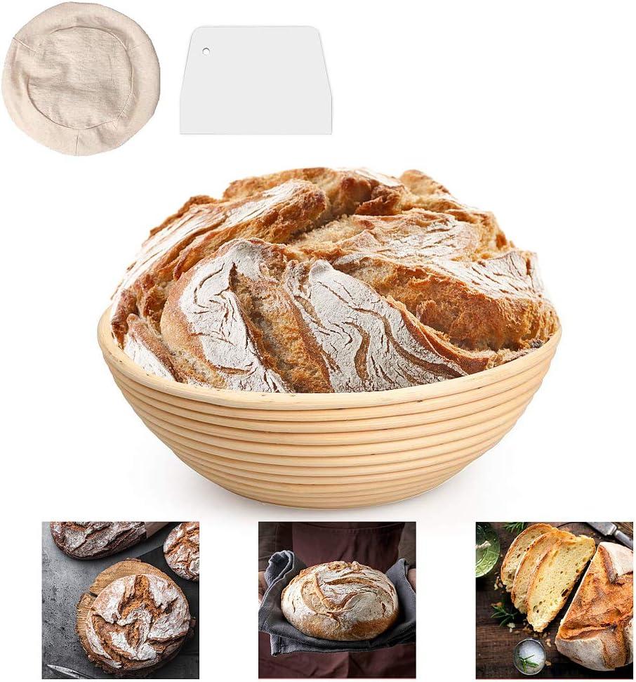 DUTISON 9 Zoll Gärkörbchen mit Leineneinsatz Brotschale Brotform,