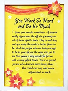 "Blue Mountain Arts Miniature Easel Print with Magnet ""You Work So Hard and Do So Much"" 4.9 x 3.6 in, Perfect ""Thank You"" Gift to Express Gratitude and Appreciation"