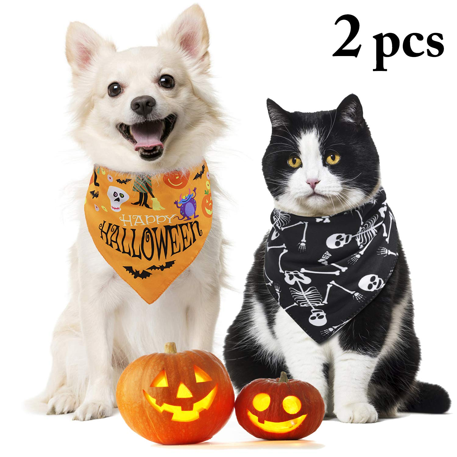Legendog 2PCS Halloween Dog Bandana, Pet Bandana, Halloween Dog Bibs, Triangle Bandana Bib for Dogs Cats