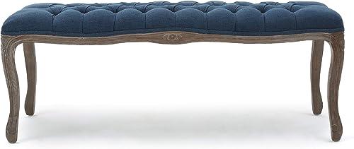 Christopher Knight Home Tassia Tufted Fabric Bench, Dark Blue