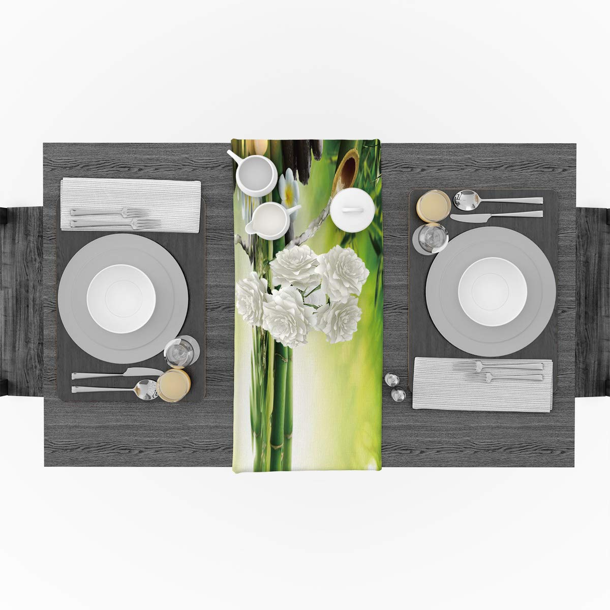WAZZIT Spa Decor Cotton Table Runner - Perfect for Summer Holiday Parties and Everyday Use 14x72inch, Zen Garden Theme Jasmine Flower Bamboos by WAZZIT (Image #2)