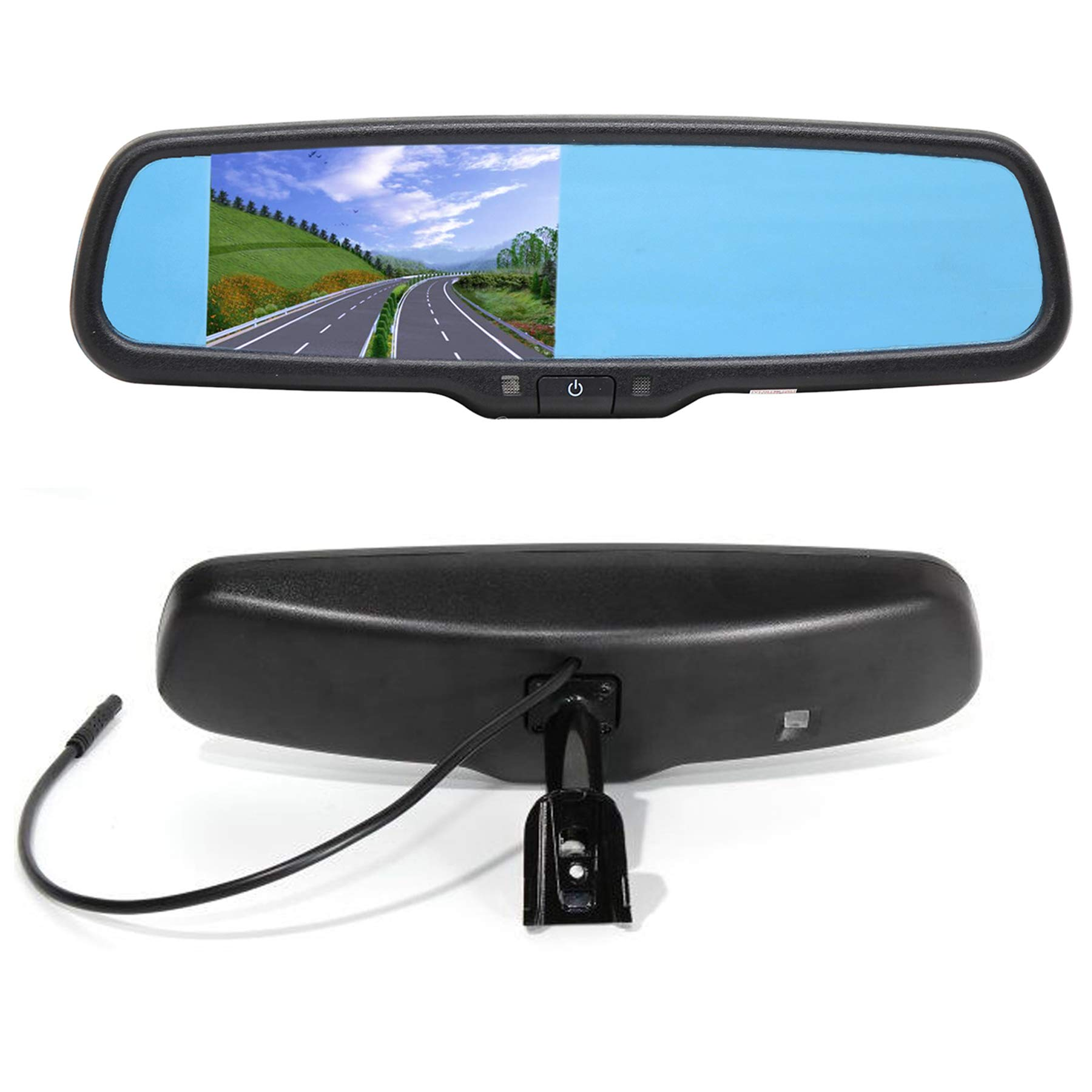 REDWOLF 4.3'' Interior Rear View Backup Mirror Monitor Anti-glare  Replacement W/ Dual Channel Fit Ford F150 2004-2014, F250/350 04-2015, Toyota Tacoma 2011-2015, Corolla 2008-2014, RAV4 2009-2014