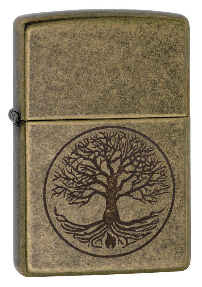 Zippo ''Tree of Life Pocket Lighter, Antique Brass
