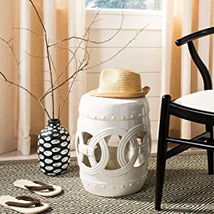 Safavieh Double Coin Ceramic Decorative Garden Stool, Antique White