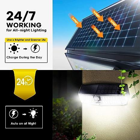 1x Mpow Solar Light 66 LED Motion Sensor Outdoor Garden Security Waterproof IP66