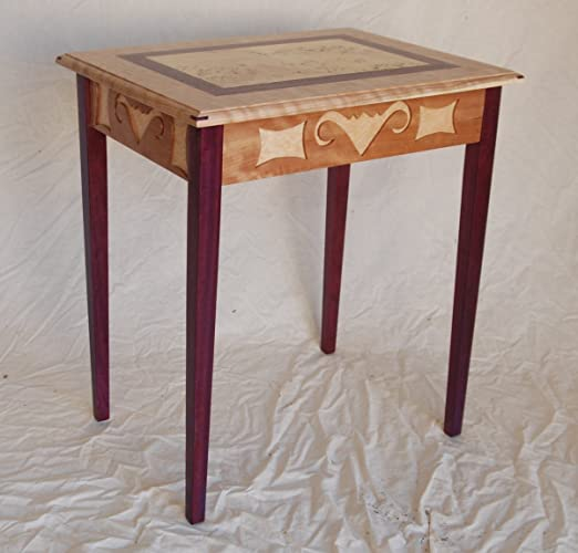Rain Bird Side Table In Cherry And Purple Heart With Mappa Inlay.
