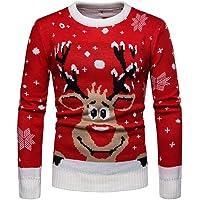 Batnott Herren Weihnachtspullover Männer Herbst Winter Warmer Pullover Weihnachten Sweater Rot Rentier Drucken Print Strickpullover Bluse Tops Mens Sweatshirt Oben Christmas Xmas Party Hemd Pulli