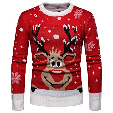 WM & MW Mens Sweater Christmas Winter Warm Round Neck Deer Print Knitted Pullover Sweater Jumper