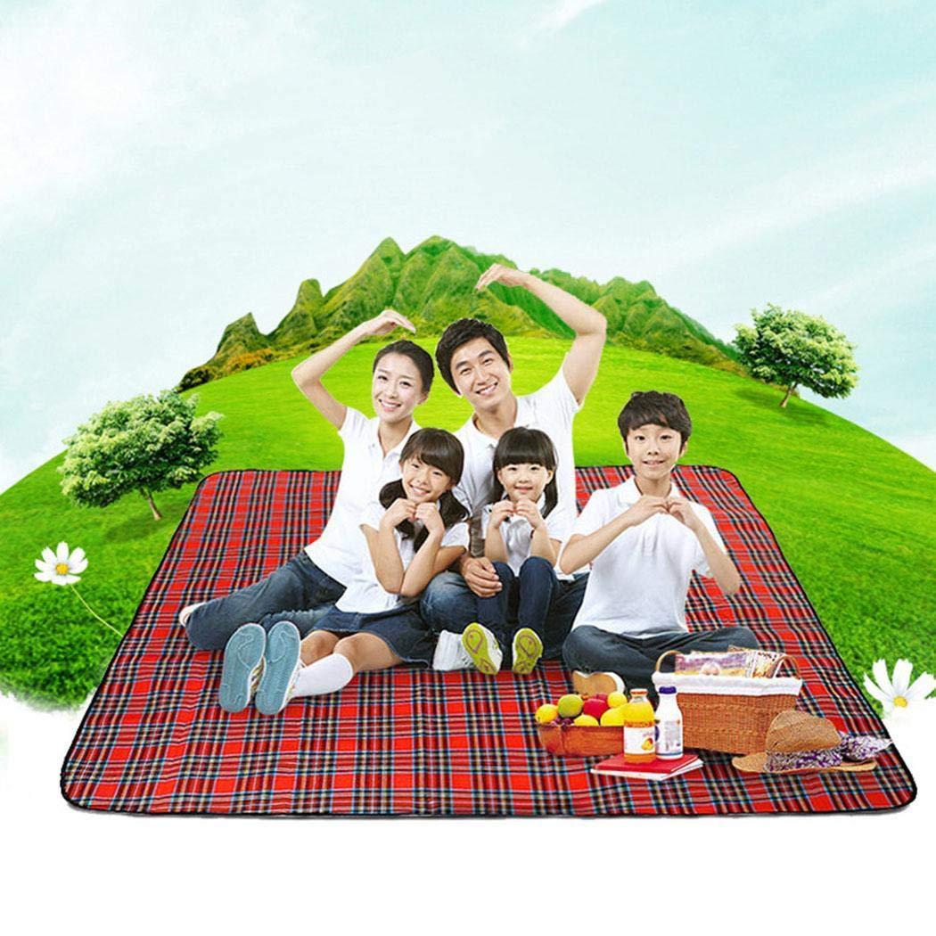 kouye Portable Folding Moisture Proof Lattice Print Outdoor Camping Picnic Mat Cots