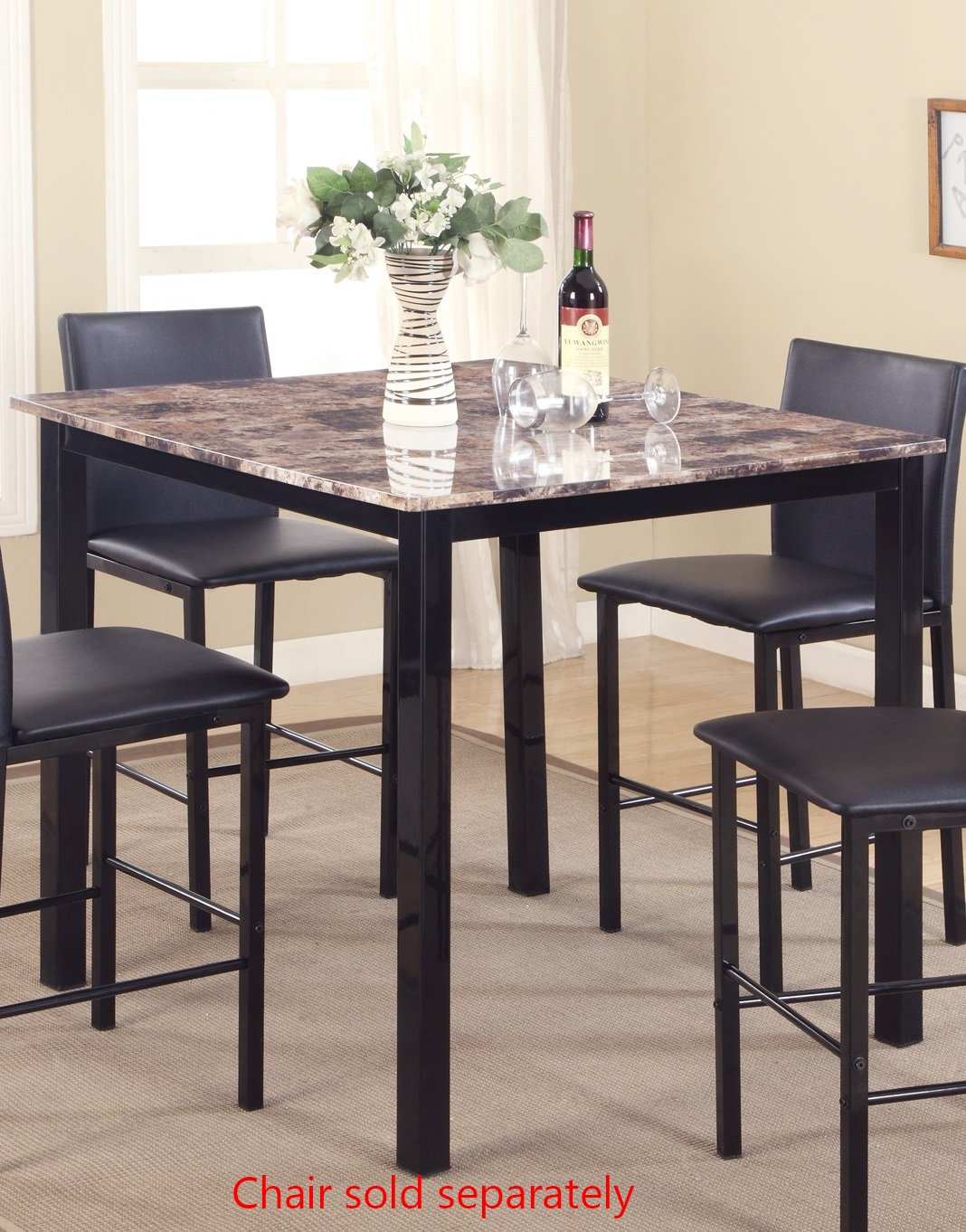 Roundhill Furniture PT007 Citico Metal Counter Height Dining Table with Laminated Faux Marble Top
