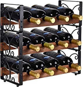 "X-cosrack Rustic 3 Tier Stackable Wine Rack Freestanding 12 Bottles Organizer Holder Stand Countertop Liquor Storage Shelf Solid Wood & Iron 16.5"" L x 7.0"" W x 16.5"" H-Patent Pending"