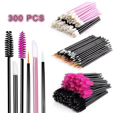 ceshumd – Estuche pinceles de maquillaje 300pcs, profesional desechable baquetas de mascara cepillos de labios Pincel Eyeliner Kits de pinceles de ...