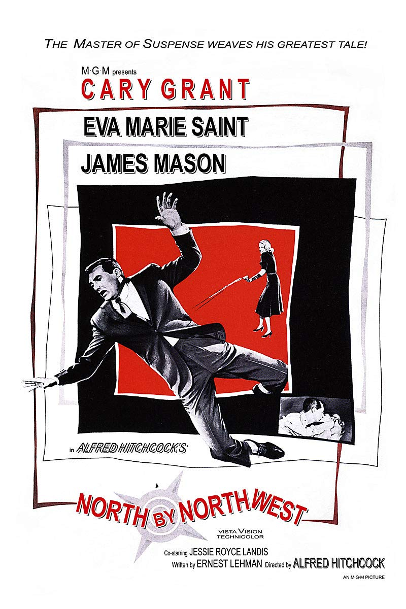 American Gift Services - North by Northwest Vintage Alfred Hitchcock Movie Poster - 24x36