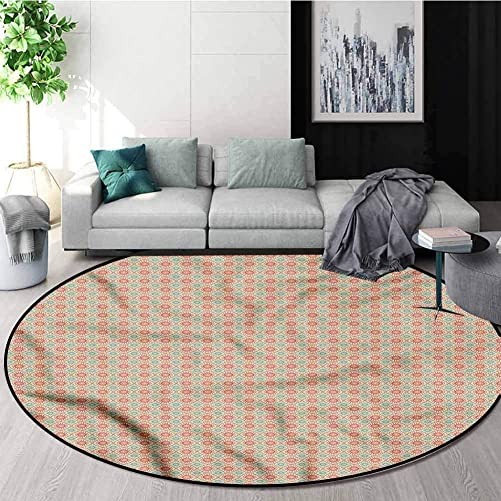 RUGSMAT Vintage Computer Chair Floor Mat,Watercolor Lines Dots Floor Mat Home Decor Diameter-31
