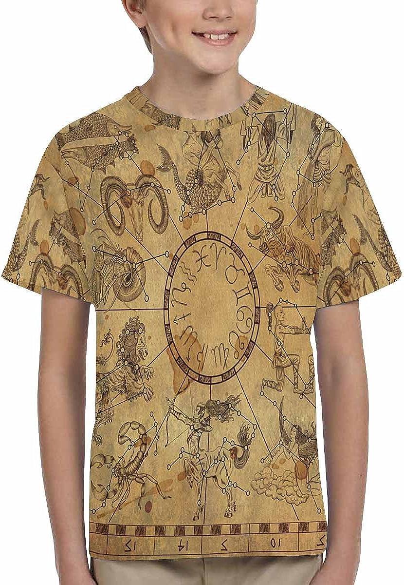 INTERESTPRINT Kids T-Shirts Zodiac Symbols and Sky Constellations XS-XL