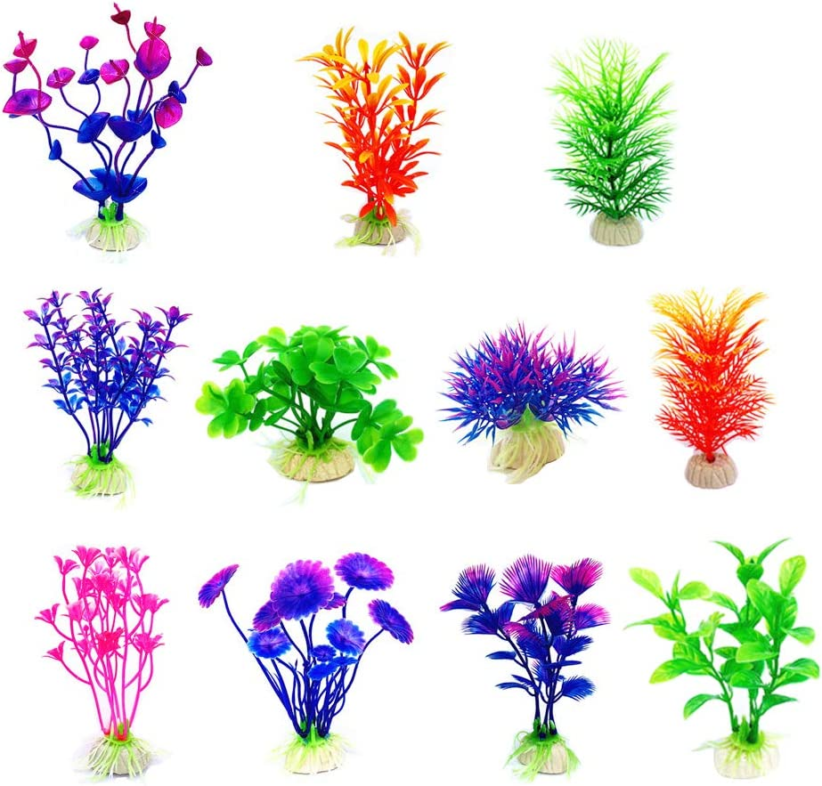 CousDUoBe Artificial Aquatic Plants Small Aquarium Plants Artificial Fish Tank Decorations,Used for Household and Office Aquarium Simulation Plastic Hydroponic Plants