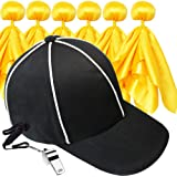 Six Senses Media 6 Penalty Flag Football Flags, 1 Referee Hat Black with White, 1 Referee Stainless Steel Whistle with Lanyard, Sports Fan Set for Football Games Party Accessory