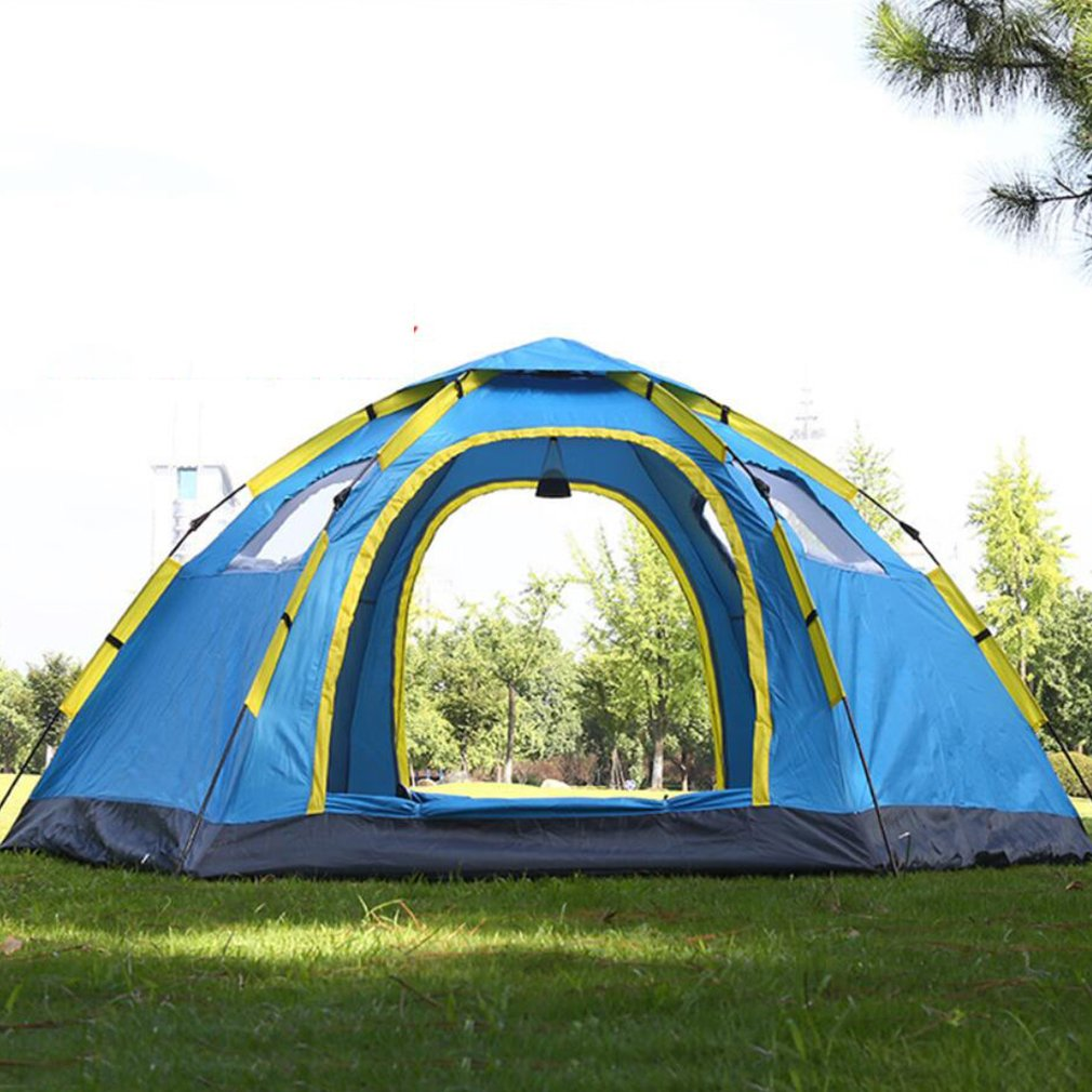NINI Outdoor-Automatik-Zelt Regen Dicht 3 Personen Wind Sicheres Sonnenschutz-Outdoor-Zelt Zwei Türen und Vier Fenster Blau und Camouflage,Blau