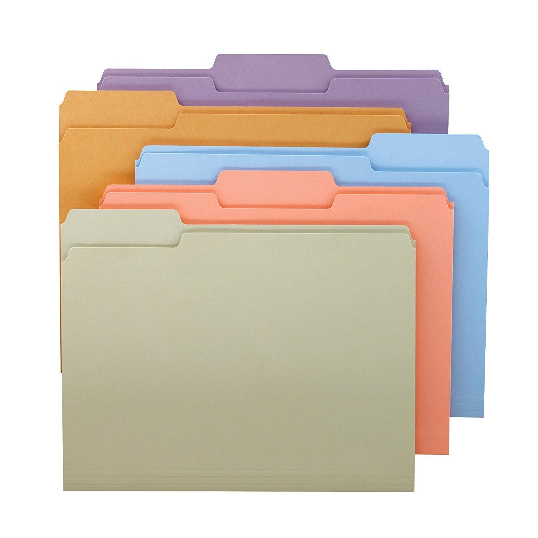Smead 1/3-Cut File Folders, Letter Size, Pastel Assorted Colors, 100 Per Box 2-Pack