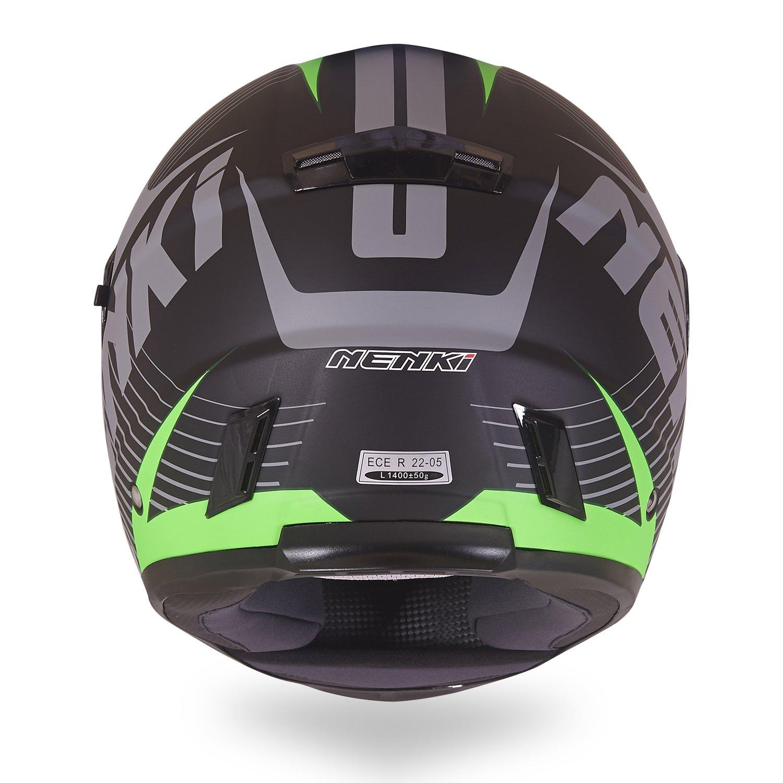 Nenki NK-856 Casco integral para motocicleta con doble visera, con certificación ECE, color Negro Mate Verde, tamaño XLarge: Amazon.es: Deportes y aire ...