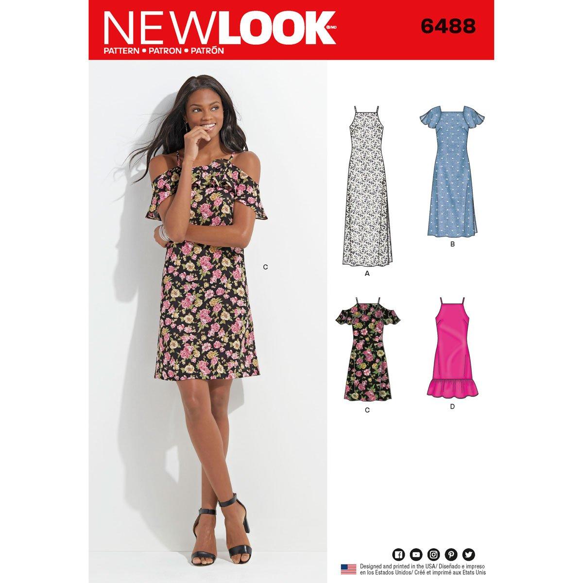 New Look Schnittmuster 6488 Misses Kleid mit Länge und ...