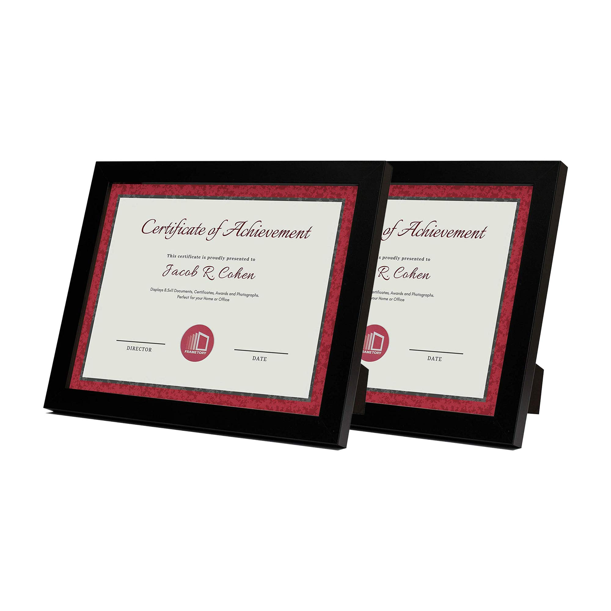 Set of Two, 8.5x11 Black Document Frame - Easel Stand for Table/Desk Top Display - Swivel Tabs, Real Glass - Sawtooth Hangers for Wall Mounting - Landscape/Portrait