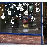 Tuopuda® Natale Adesivo Campana Jingle Fiocco di Neve Natale Vetrofanie Adesivi Murali Rimovibile Fai da te Finestra Decorazione Vetrina Wallpaper di neve (campana e palla)