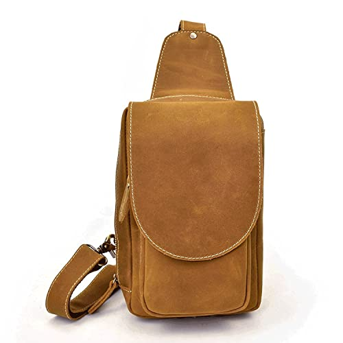 d42ddea738 Men s Genuine Leather Sling Bag Chest Shoulder Backpack Crossbody  Multipurpose Daypack Bag Trip (Light Brown