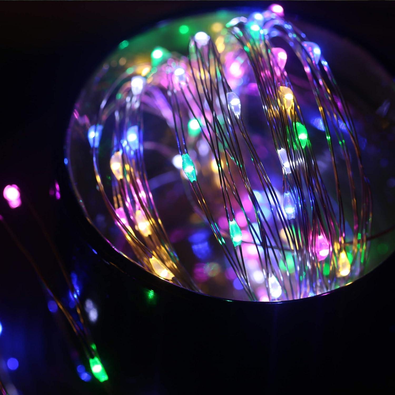 Areskey Hada Luces de cadena 10M 100 LED Luces de Navidad Impermeable Estrellado Alambre de luz Decoraci/ón para Interior Habitaci/ón Jard/ín Bater/ía o USB 8 modos de iluminaci/ón remoto