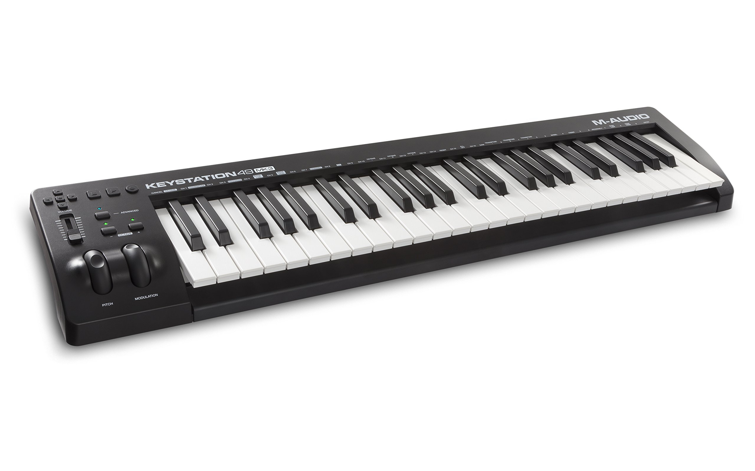 M-Audio Keystation 49 MK3 | Compact Semi-Weighted 49 Key MIDI Keyboard Controller with Assignable Controls, Pitch / Modulation Wheels and Software Production Suite included - USB-Powered by M-Audio