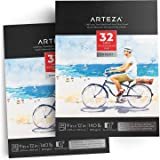 "ARTEZA 9x12"" Expert Watercolor Pad, Pack of 2, 64 Sheets (140lb/300gsm), Cold Pressed, Acid Free Paper, 32 Sheets Each, Ideal for Watercolor Techniques and Mixed Media"