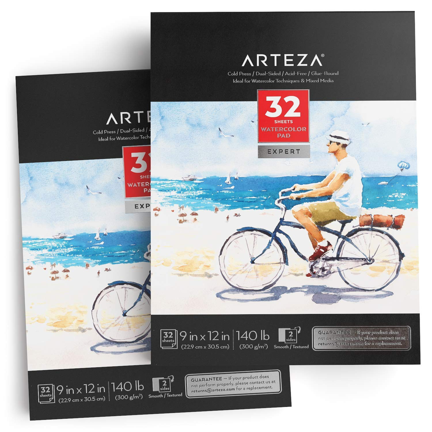 ARTEZA 9x12'' Expert Watercolor Pad, Pack of 2, 64 Sheets (140lb/300gsm), Cold Pressed, Acid Free Paper, 32 Sheets Each, Ideal for Watercolor Techniques and Mixed Media