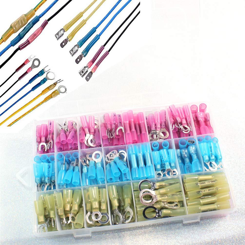 Elibbren 540 PCS Heat Shrink Wire Connector Kit Waterproof Electrial Insulated Crimp Marine Automotive Wire Connectors Crimp Terminals