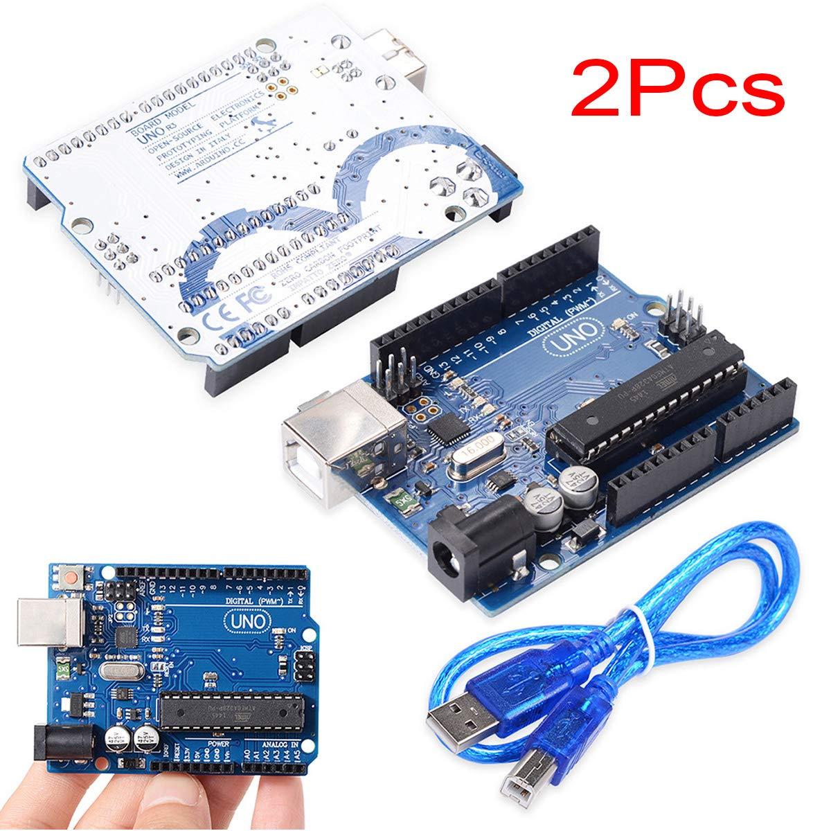 Clavija de Cabezal 7E TRADING 2 Unids UNO R3 ATmega328P Placa de Desarrollo CH340 Compatible Arduino IDE Pin Recto UNO R3 ATmega328P con Cable USB para Arduino
