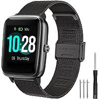 YHC Correa para ID205l Smartwatch de la Serie,Pulsera de Metal Correas Compatible con SW025,SW023,SW021,SW020,TE021…