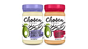 Chosen Foods Flavored Mayos | 2 Pack | Roasted Garlic + Harissa, 8 oz each