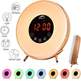 Sunrise Wake Up Light Alarm Clock, Vicrays Digital Radio Alarm Clock for Bedrooms, Bedside and Kids, FM Radio, 7 Colors, 6 Natural Sounds, Touch Control with Snooze Function for Heavy Sleepers