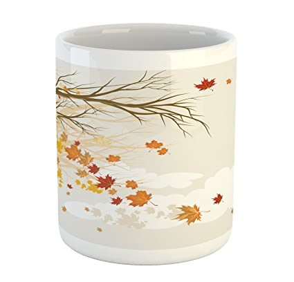 1c2683b8f2 Lunarable Fall Mug, Pastel Colored Autumn Trees in The Park with Shedding  Leaves Graphic Design