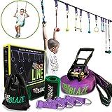 Trailblaze Ninja Warrior Obstacle Course for Kids - 50 ft Slackline Ninja Line Monkey Bars Kit & Bonus Seat Swing - More…