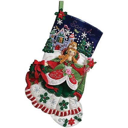 Amazon bucilla 18 inch christmas stocking felt applique kit bucilla 18 inch christmas stocking felt applique kit 86140 princess solutioingenieria Images