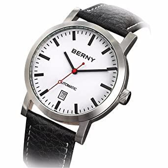Berny AM7068 Men Calfskin Automatic Watch, Date Display, 50 M Waterproof, All Steel