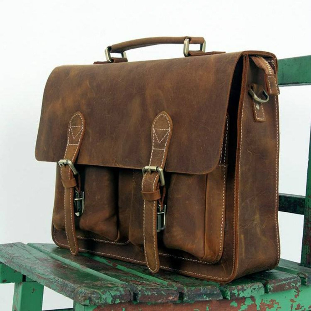 Handmade Vintage Leather Briefcase / Leather Messenger Bag / 13'' 14'' MacBook 14'' Laptop Bag