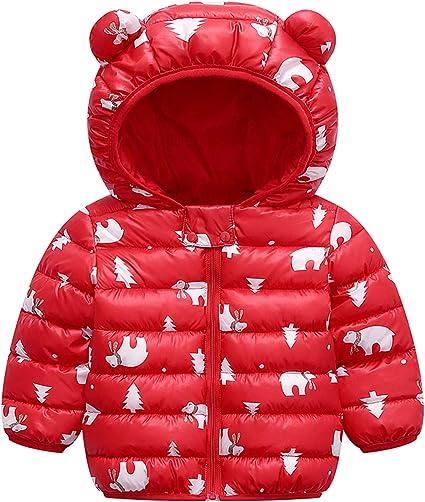 6 Months-5 Years JINZFJG Kids Duffle Coat Winter Warm Fleece Cotton Hooded Horn Button Snowsuit