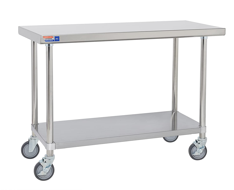 Mobile Edelstahl Tisch 600 mm Flat Top keine Aufkantungen. American Catering Equipment (UK) Ltd SSCT224-C